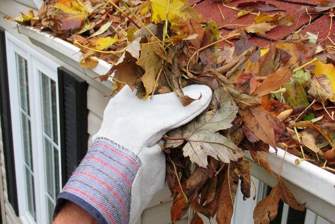 fall autumn leaves clean gutters