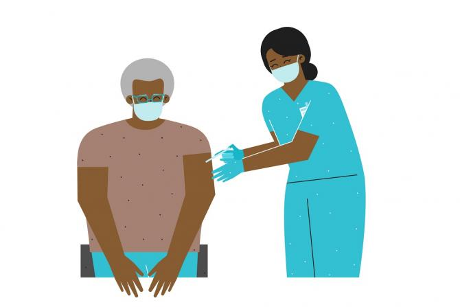 illustration of african american nurse giving older african american patient an injection