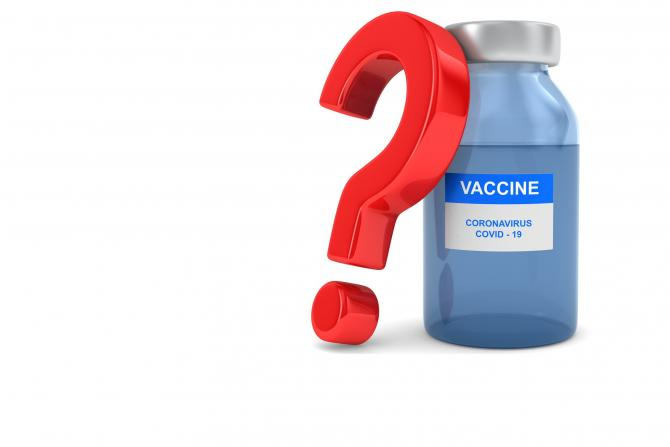 illustration of question mark next to vial of COVID-19 vaccine