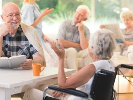 Couple enjoying time together at an assisted living facility
