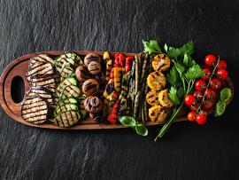 Grilled vegetables, zucchini, squash, tomatoes, corn, mushrooms