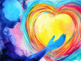 watercolor illustration of colorful layered heart with silhouette