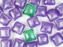 purple and green liquid laundry detergent packets