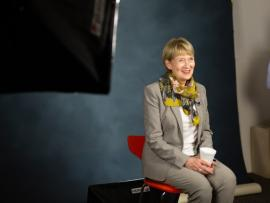 Carilion Clinic CEO Nancy Agee smiles while sitting for a photo shoot