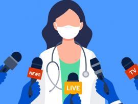 illustration of doctor wearing mask talking to into news crew microphones