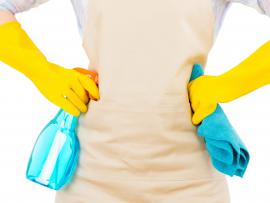 spring cleaning woman with gloves and cleaners