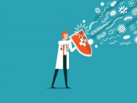 illustration of doctor holding shield to repel incoming viruses